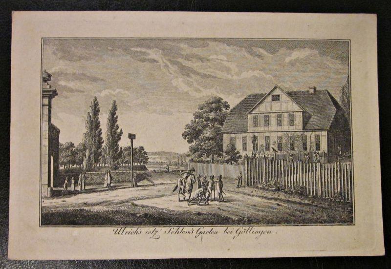 Ulrichs\' ietzt von Sehlens\' Garten u. Haus bei Göttingen. Kupferstich Umseitig beschriftet 1833
