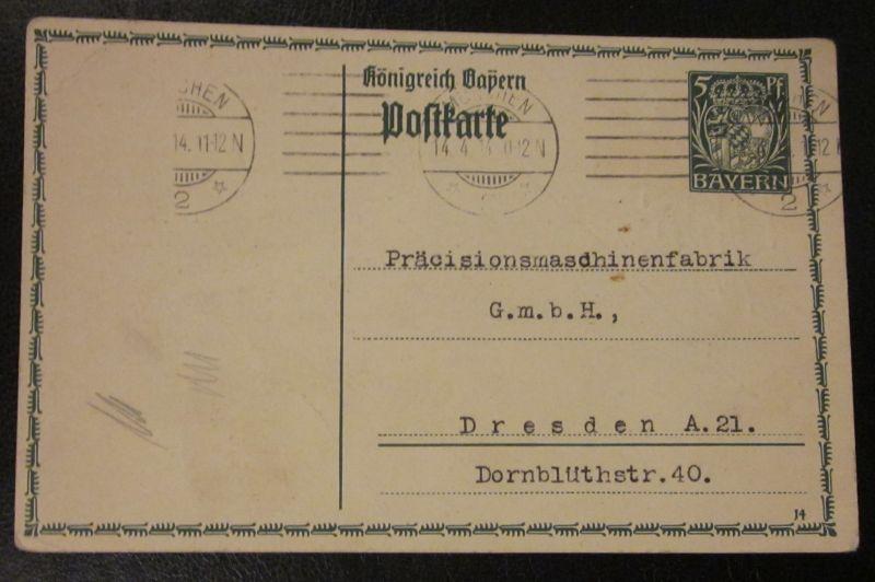 Alte Postkarte Ganzsache Bayern gel. Dresden Präzisionsmaschinen Fabrik 1914