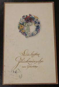 Alte Ansichtskarte Geburtstag gel. Deutsches Reich 1921 Briefmarke Germania EF
