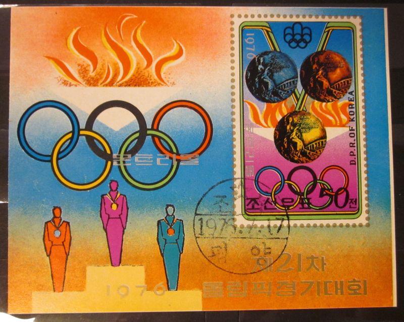 Briefmarke Nord Korea 1976 Olympics Montreal Block Kleinbogen