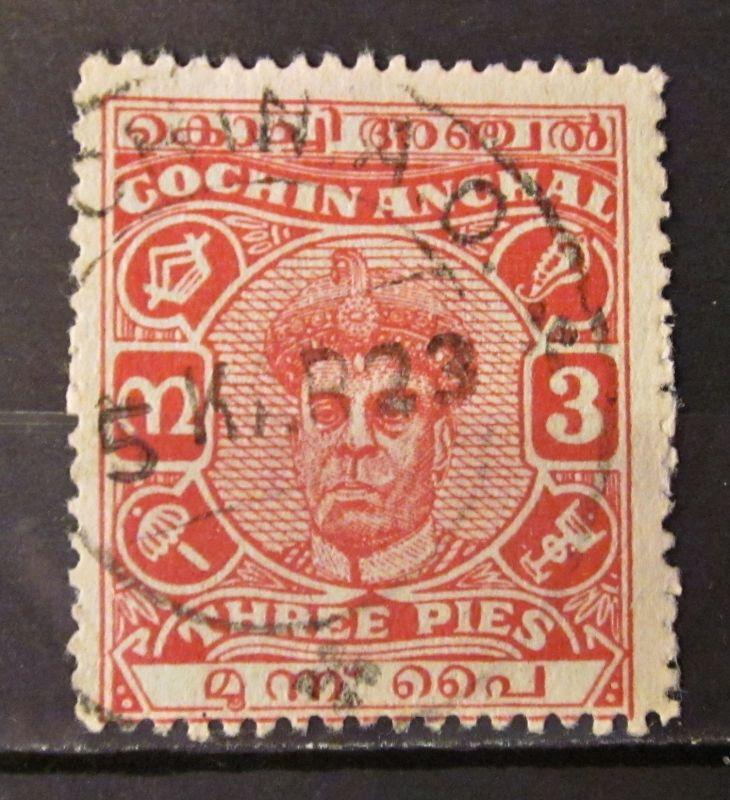 Briefmarken Asien Indien INDIA COCHIN 1916-30 early Rama Varma II