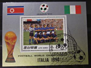 Briefmarken Asien Block Sport Fußball WM Italien 1990 Korea