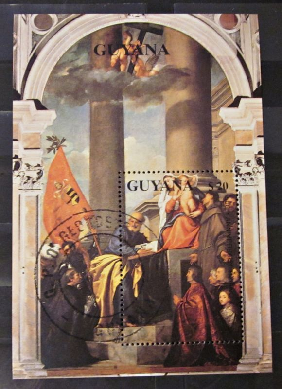 Briefmarken Guyana Heilige Drei Könige Kunst Gemälde Block gestempelt