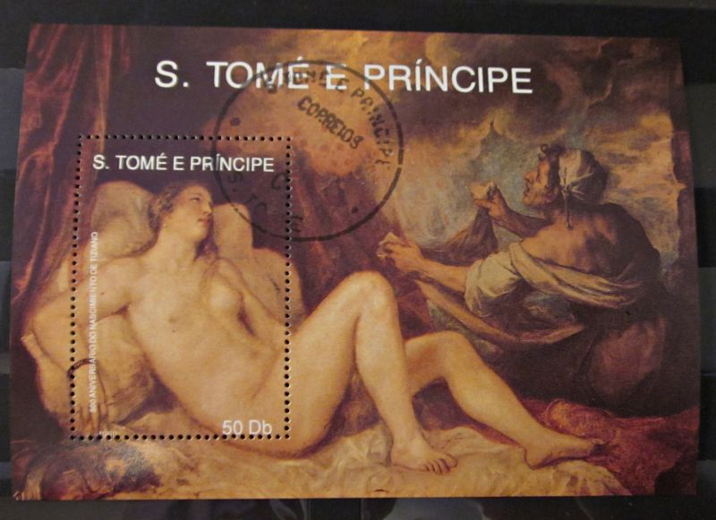 Briefmarken Afrika Block São Tomé und Príncipe Kunst Gemälde 1990