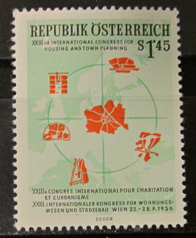 Briefmarken Österreich 1956 Ungebraucht gummiert Städtebaukongreß Michel Nr. 1027