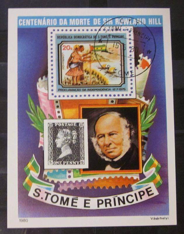 Briefmarken Afrika Block São Tomé und Príncipe Sir Rowland Hill 1980