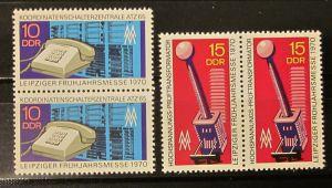 Briefmarken DDR zweimal Zusammendruck Paar Satz Deutschland 1970 Postfrisch