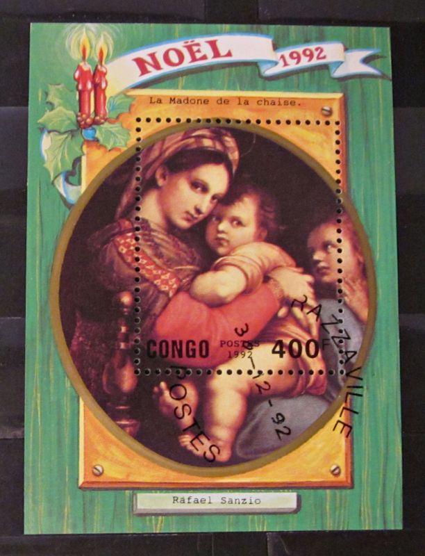 Briefmarken Block Afrika Weihnachten Congo Noël Madona 1992
