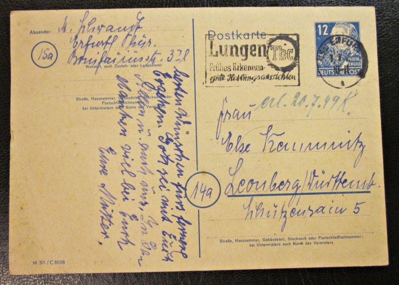 Postkarte Ganzsache Alliierte Besetzung gel. 1949 Erfurt - Leonberg