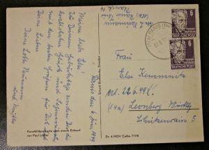 Postkarte Zone Sowjetische Besetzung MeF gel. Ranis - Leonberg 1949 Briefmarken