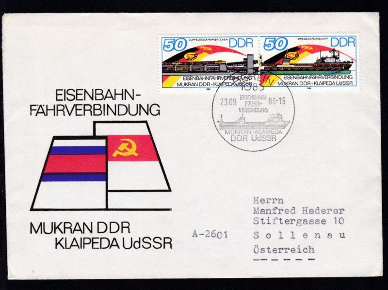 BERLIN 1085 EISENBAHN-FÄHR-VERBINDUNG MUKRAN-KLAIPEDA DDR-UdSSR 23.09.86