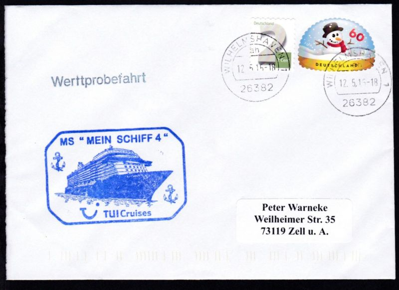 OSt Wilhelmshaven 17.5.15 + L1 Werftprobefahrt + CACHET MS Mein Schiff 4