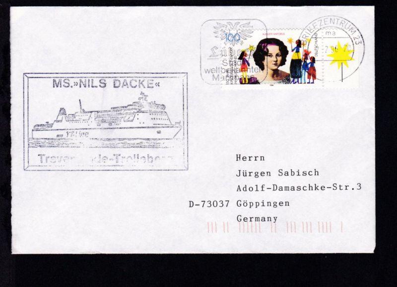 OSt. Briefzentrum 23 2.2.96 + Cachet MS Nils Dacke auf Brief