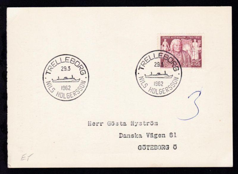 TRELLEBORG NILS HOLGERSSON 29.3.1962 auf Postkarte