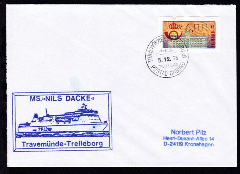 TRAVEMÜNDE-TRELLEBORG TRELLEBORG POSTAD OMBORD 5.12.95 + Cachet MS Nils Dacke