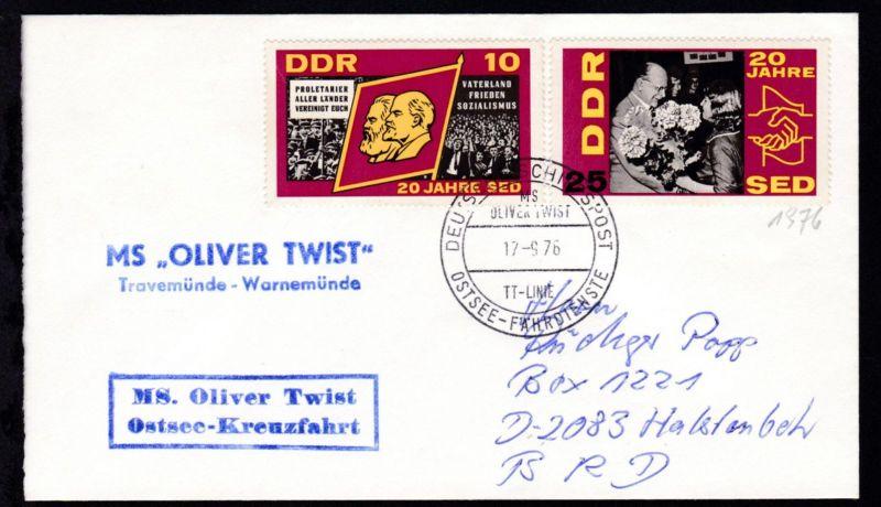 DEUTSCHE SCHIFFSPOST MS OLIVER TWIST TT-LINIE OSTSEE-FÄHRDIENSTE 17.9.76 +