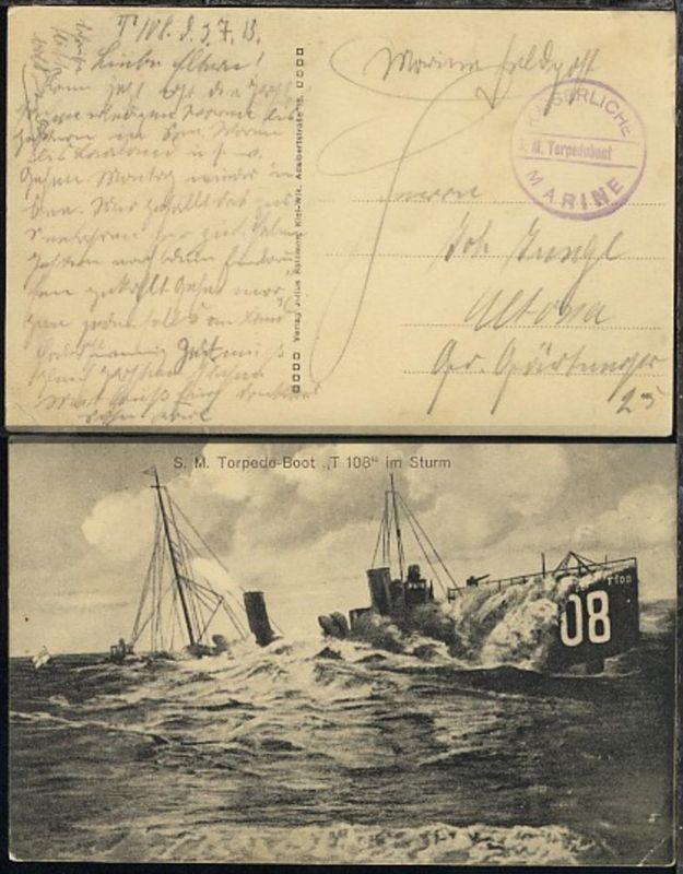 (3.7.15) viol. Steg-K1 SM Torpedoboot auf AK (Torpedoboot T 108 im Sturm),