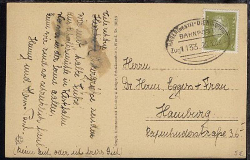 HAGEN (WESTF)-DIERINGSHAUSEN Zug 1133 26.3.32 auf AK