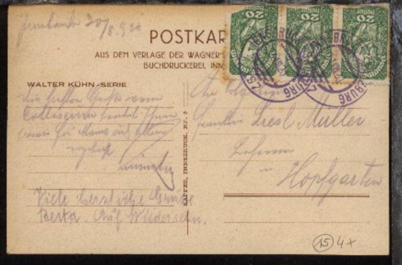 INNSBRUCK-SALZBURG 197 31.VIII.20 (viol. Stpl.) auf CAK, Marken beschädigt