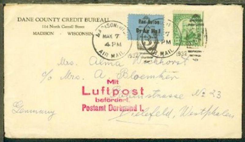 L4 Mit Luftpost befördert Postamt Dortmund 1 auf