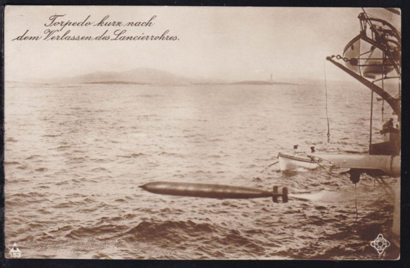 Torpedo kurz nach dem Verlassen des Lancierrohrs, 1916