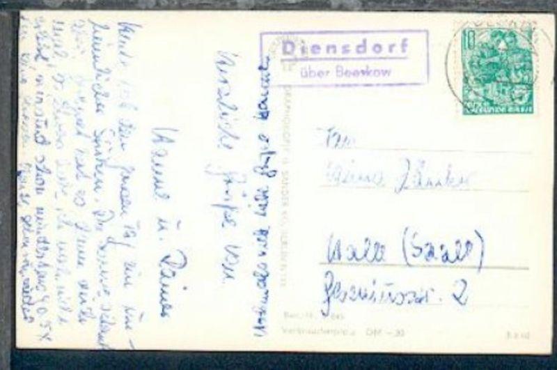Diensdorf über Beeskow (R2) + OSt. Beeskow 22.8.61 auf AK