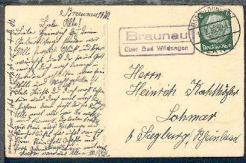 Braunau über Bad Wildungen (R2) + OSt. Bad Wildungen Land 15.3.36 auf Geburtstag