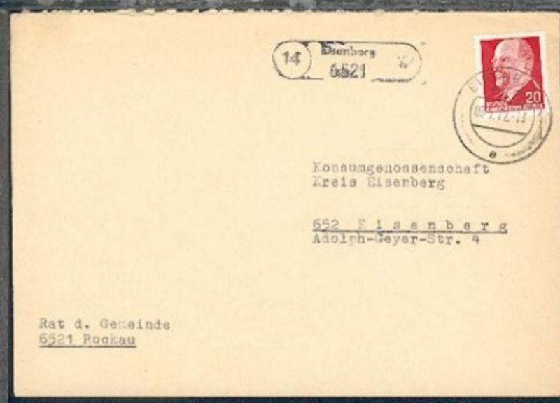 14 Eisenberg 6521 (R1) + OSt. Eisenberg 08.5.72 auf Bf. des Rat der Gemeinde Roc