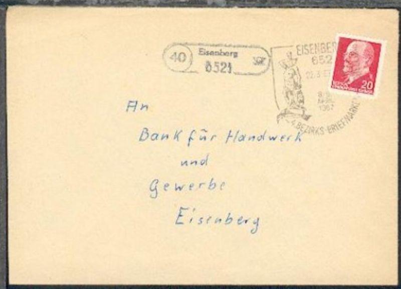 40 Eisenberg 6521 (R1) + SSt. Eisenberg 22.3.67 auf Bf. aus Königshofen