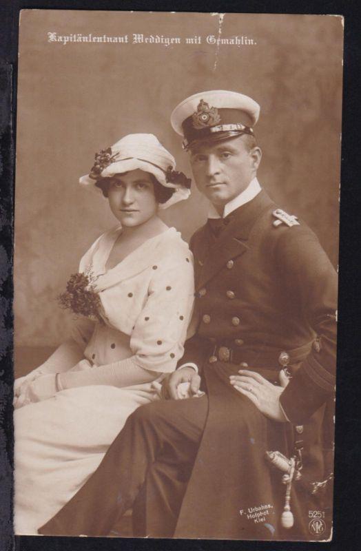 Kapitänleutnant Weddigen mit Gemahlin, Karte Einriss 0