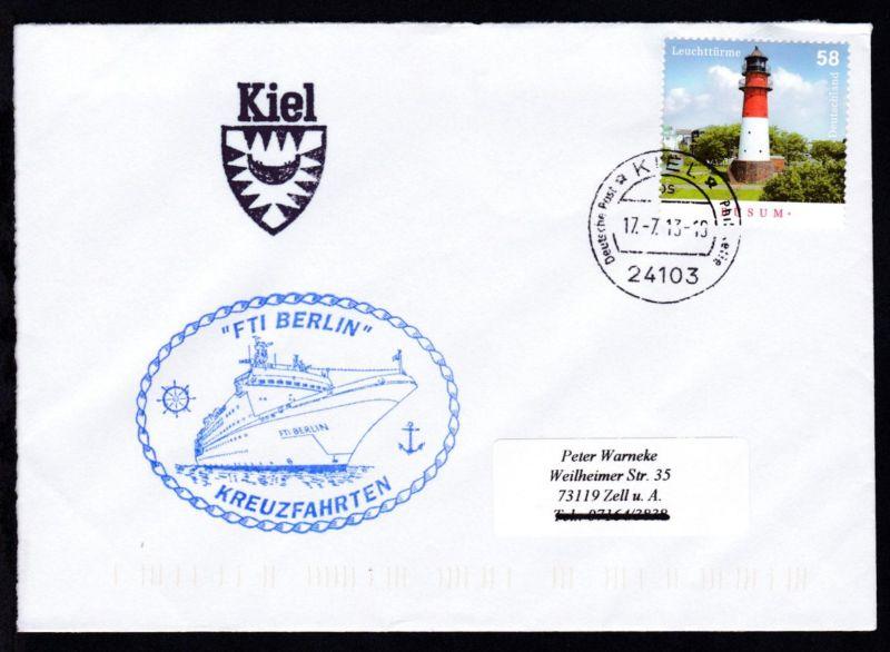 OSt. Kiel 17.7.13 + Cachet FTI Berlin auf Brief