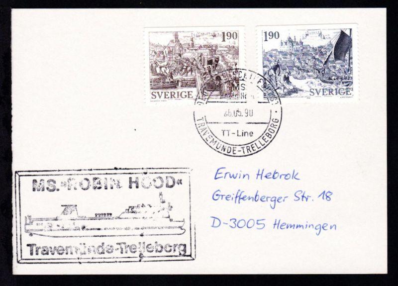 DEUTSCHE SCHIFFSPOST MS Robin Hood TT-Line TRAVEMÜNDE-TRELLEBORG 26.05.90 +