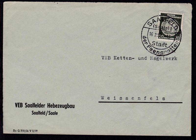 Saalfeld Werbestempel SAALFELD (Saale) 1 Stadt der Feengrotten 16.2.57