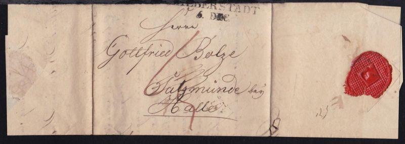 Halberstadt 1817 L2 HALBERSRADT 5. DEC. (etwas über Rand) auf Brief