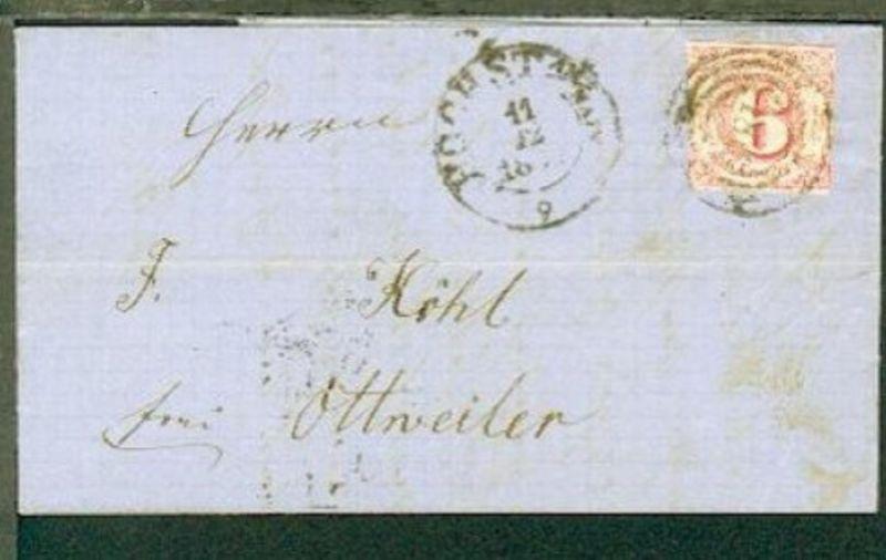 6 Kr. auf Bf. mit Nr.-Stpl. 186 + K2 HÖCHST AM/MAIN 11.12.1861 nach Ottweiler