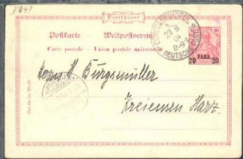 20 Para mit Stpl. CONSTANTINOPEL 1 23.8.04 nach Kreiensen/Harz (AkSt. 26.8.04)