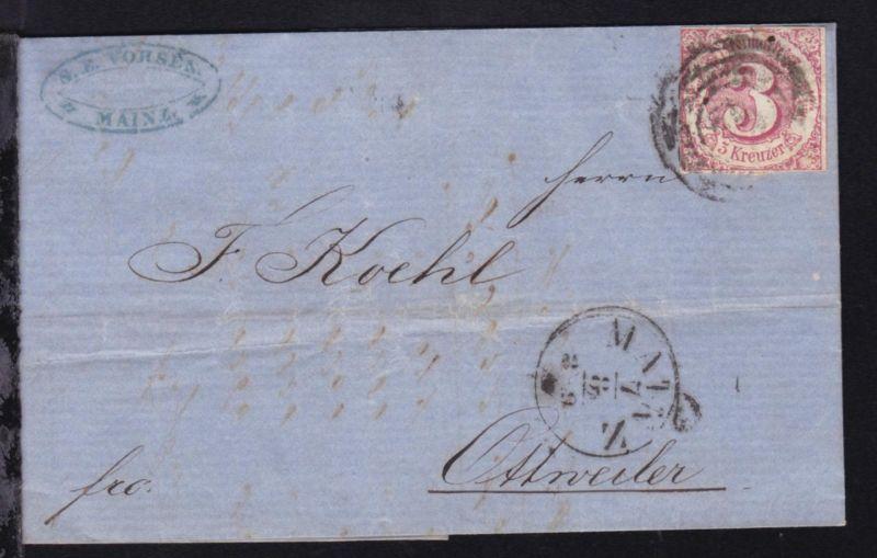 Ziffer 3 Kr. auf Brief mit Nummernstempel 134 und K1 MAINZ 7.8. nach Ottweiler