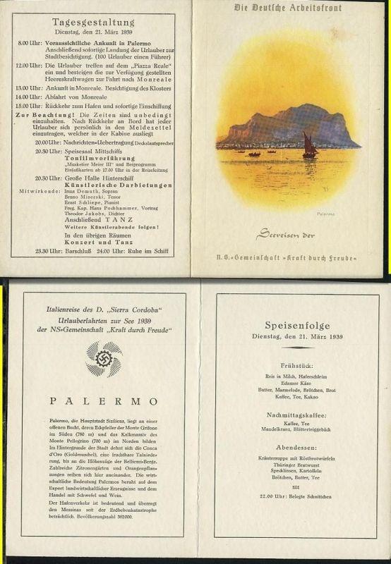 Dampfer Sierra Cordoba Speisekarte vom 21.3.1939