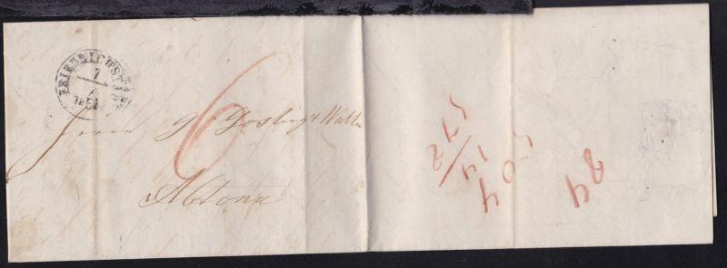 K2 FRIEDRICHSTADT 7.7.1854 auf Brief aus Tönning nach Altona