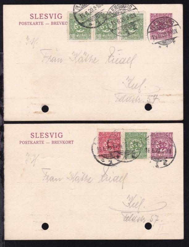 Wappen 15 Pfg. zwei Karten jeweils mit Zusatzfrankatur ab Flensburg nach Kiel,