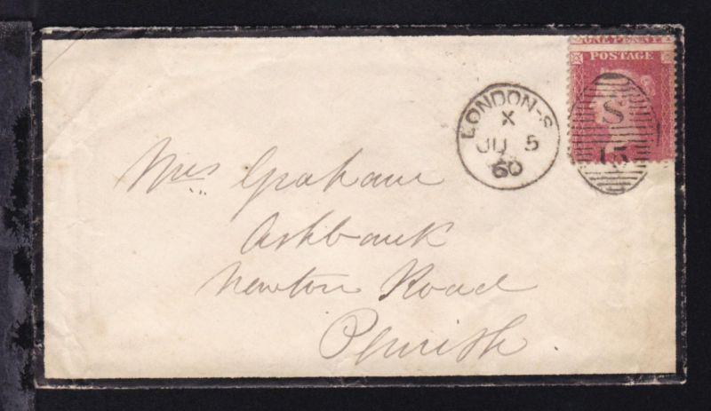 Königin Viktoria 1 P. (dezentrierte Marke) auf Trauerbrief ab London JU 5 60
