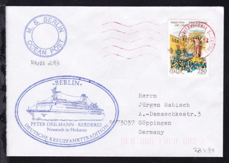 OSt. Civitaveccia 28.11.94 + Cachet MS Berlin auf Brief