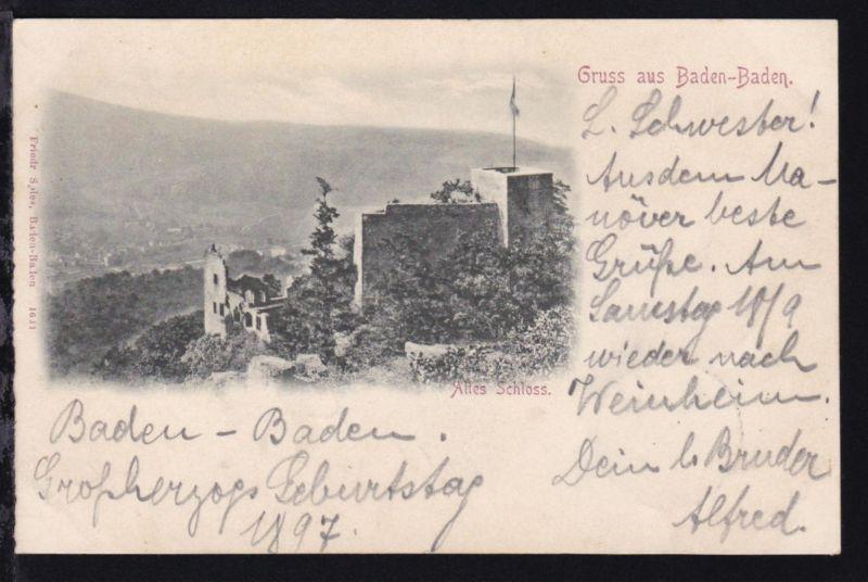 Baden-Baden (Altes Schloss), Gruss aus, 1897