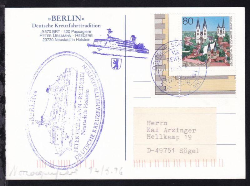 DEUTSCHE SCHIFFSPOST MS BERLIN PETER DEILMANN REEDEREI  NORWEGENFAHRT 14.5.96 +