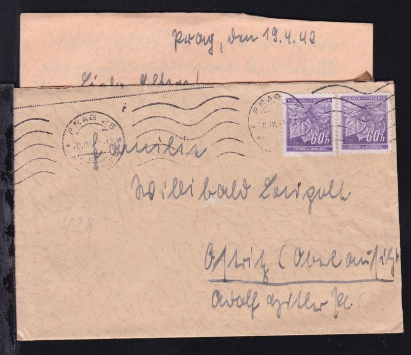 Lindenzweig 60 h. (waager. Paar) auf Brief mit Inhalt ab Prag 20.IV.42