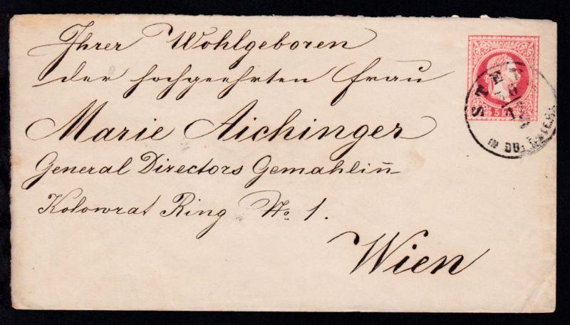 Kaiser Franz Joseph 5 Kr. mit K1 STEYR IN OB. ÖSTER. 30.12. nach Wien