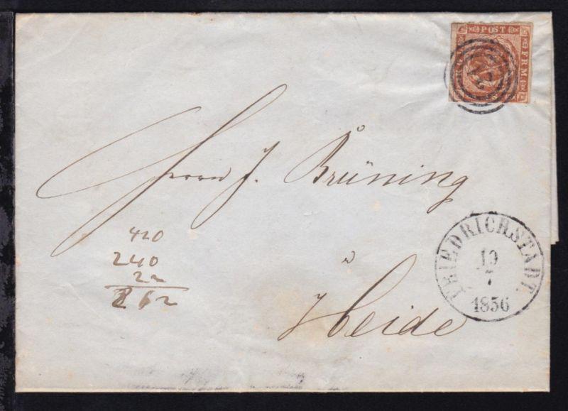 Kroninsignien im Lorbeerkranz 4 S. auf Brief mit Dreiringstempel 21 + K1