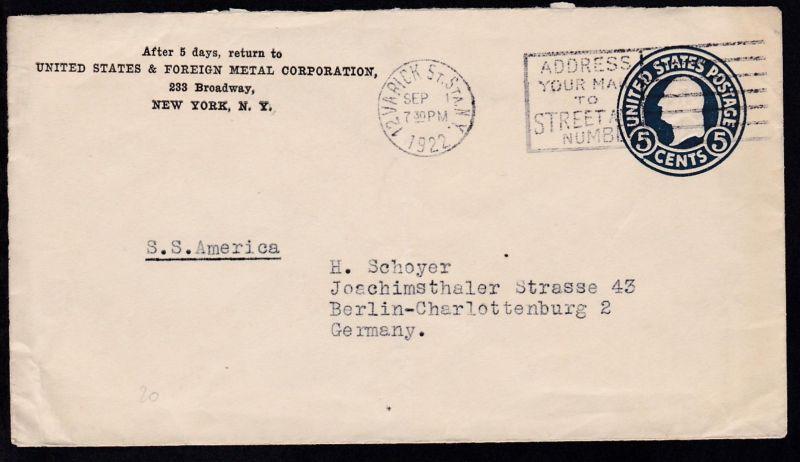 Brief Nach New York : Hs leitvermerk p ss la savoie auf brief ab new york sep