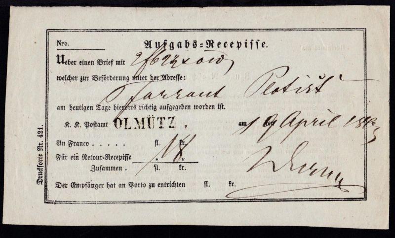 1843 L1 OLMÜTZ auf Aufgabs-Recepisse