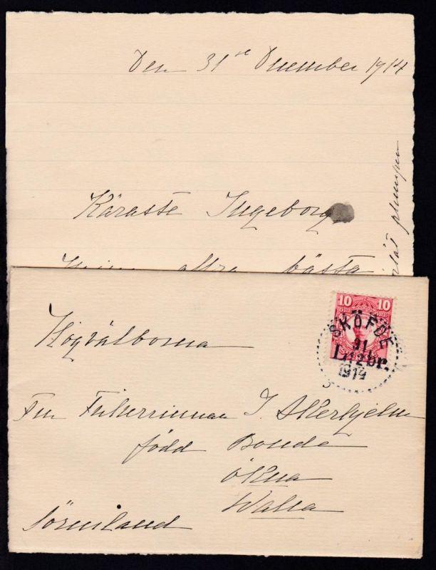 König Gustaf V 10 Öre auf Brief mit Inhalt mit Punktrand-K1 SKÖFDE 31.12.1914